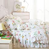 FADFAY Butterfly Meadow Bedding,Floral Butterfly Print Bedding Set Twin XL,Elegant French Country Style Vintage Ruffles Duvet Cover Bed Sets with Lace Twin Extra Long Size