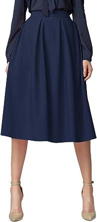 Urban GoCo Mujeres Vintage Falda Midi Plisada A-Line con ...