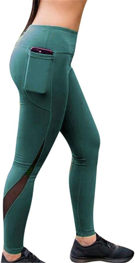 SMILEQ - Pantalones de Deporte para Mujer, de Malla, con Parches ...