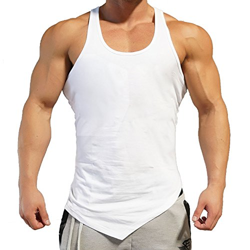 COOFANDY Men's Gym Workout Tank Top Bodybuilding Muscle Stringer Fitness T Shirt, White2, (Elongated Tank)