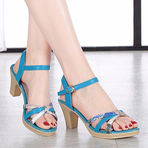 Temperamento Señoras Verano Elegante Cuero Grueso Blue Sandalias Shoes Moda Talón Antideslizante 6OAqWnw8