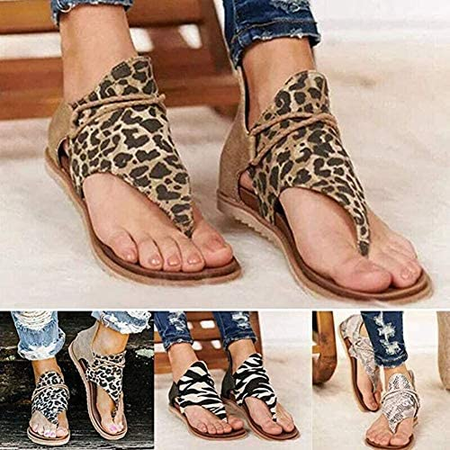 WYEZ Sandali Comodi correttivi da Donna, Pantofole con Tacco Piatto con Tacco Piatto Modello Moda Donna con Scarpe da Spiaggia con Cerniera,A,40