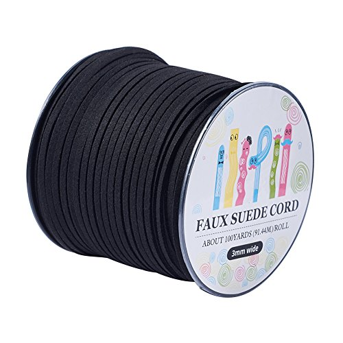 Pandahall 98Yard 90m/roll 3x1.4mm Faux Suede Cord String Leather Lace Beading Thread Suede Lace Double Sided with Roll Spool 295feet Black