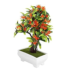 GLOGLOW Artificial Bonsai Flower Pot Fake Silk Flower Tree Plant for Wedding Holiday Home Decor 2