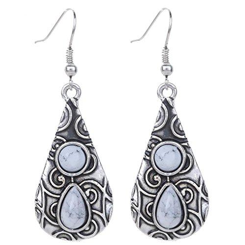 Yazilind Vintage Tibetan Silver White Round Teardrop Resin Embossed Dangle Drop Hook Earrings