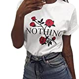 Sunward Women's Summer Nothing Letter Rose Printing Short Sleeve Blouse Casual T-Shirt