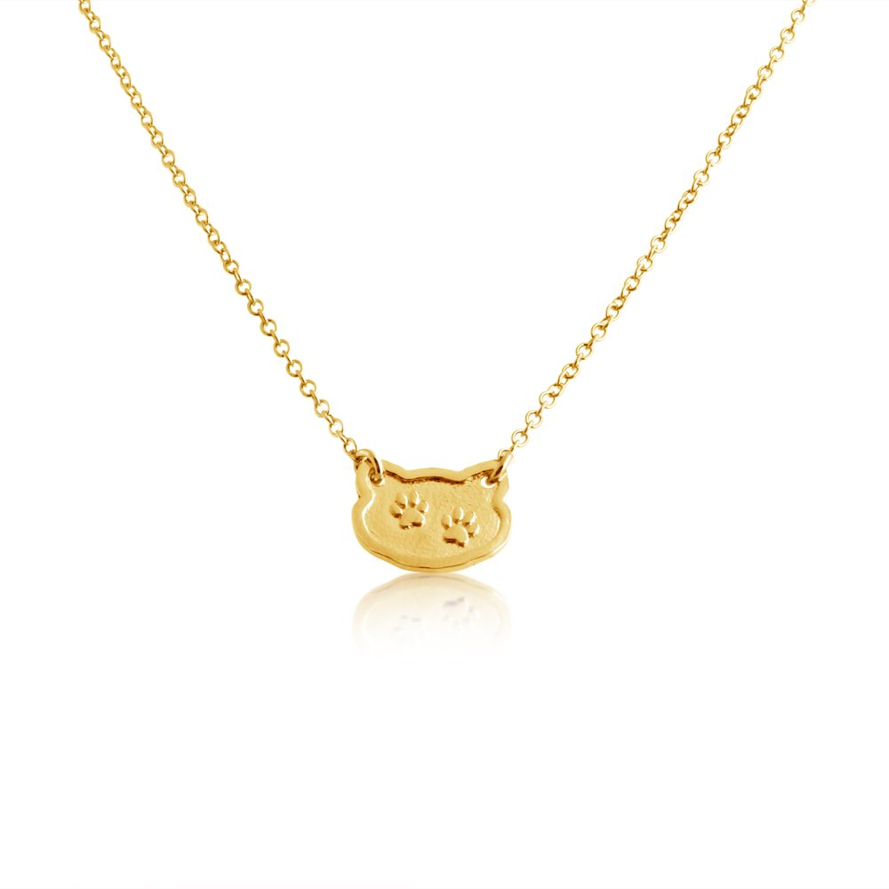 Azaggi Gold Plated Silver Necklace Dog//Cat Paw Prints Feline Shape Two-Tone Charm Pendant Jump Ring Necklace .This Gold Plated Unisex Necklace is the Perfect Jewelry Gift