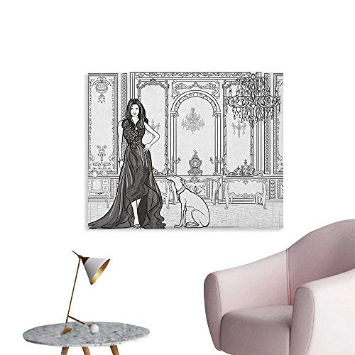 Anzhutwelve Teen Room Wallpaper Sexy Fashion Woman in Victorian Palace with Dog Baroque Illustration Cool Poster Dark Grey and White W32 xL24 ()