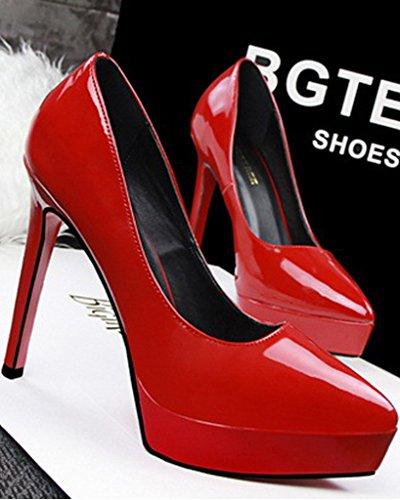 Mujer Shoes Rojo Stiletto con Charol Zapatos Zapatos de de Tacón Cerrada Fiesta Clásico Plataforma Minetom Punta Boda Tacón SwqUdRd4