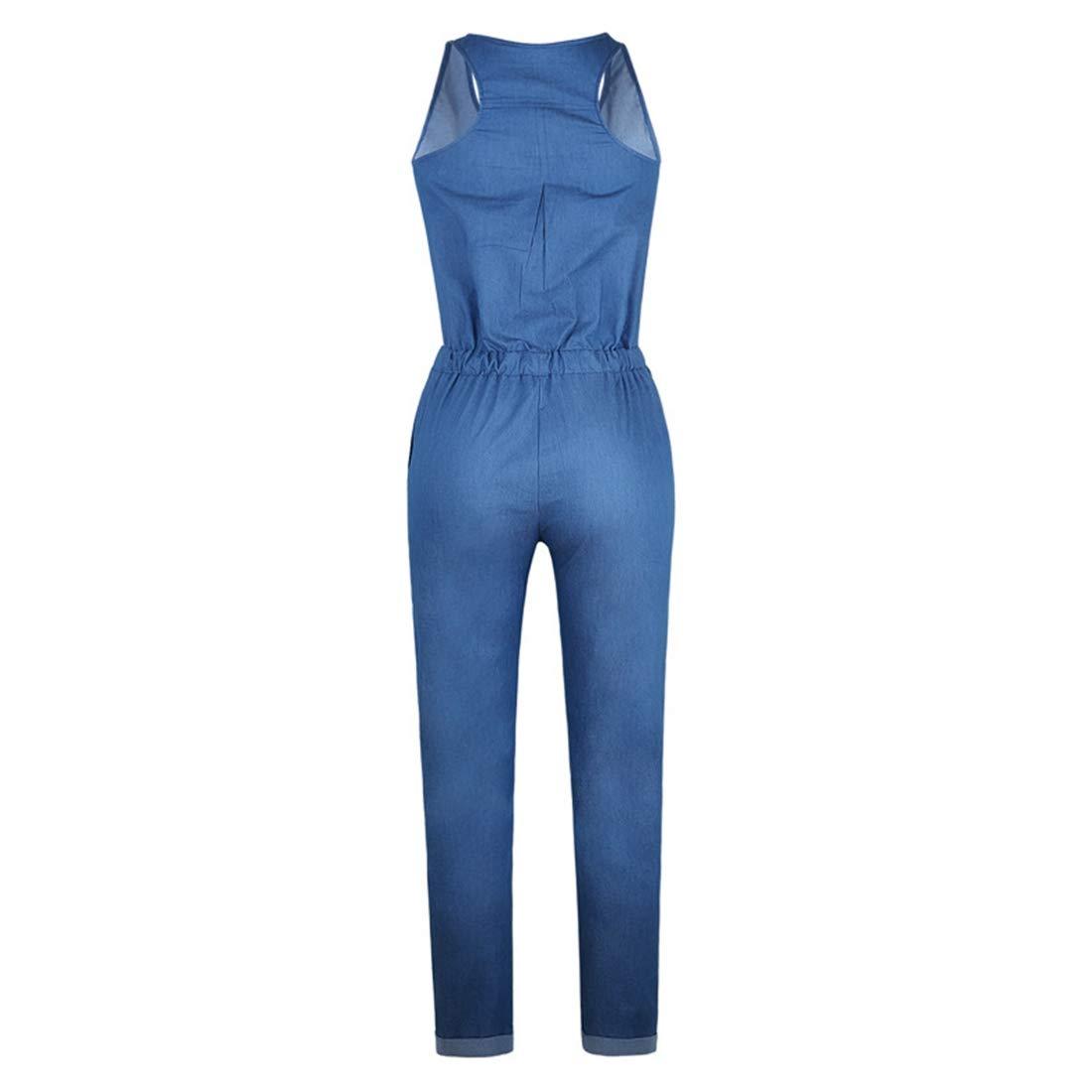 Jsqianchen Botines de Mezclilla con Botones sin Mangas para Mujer Mamelucos Bodysuit con Bolsillo (Color : Deep Blue, Size : S): Amazon.es: Hogar