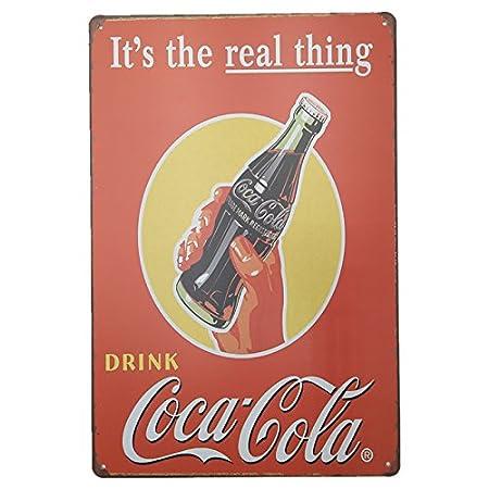 MARQUISE & LOREAN Coca Cola Placas Decorativas Pared Cocacola Chapas Vintage Metálicas Cocacola Elígeme (20 x 30 cm, Roja y Amarilla)