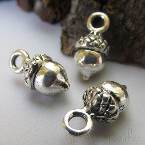 OutletBestSelling Pendants Beads Bracelet Acorn Wholesale Antiqued Silver Plated Autumn Charms 20pcs