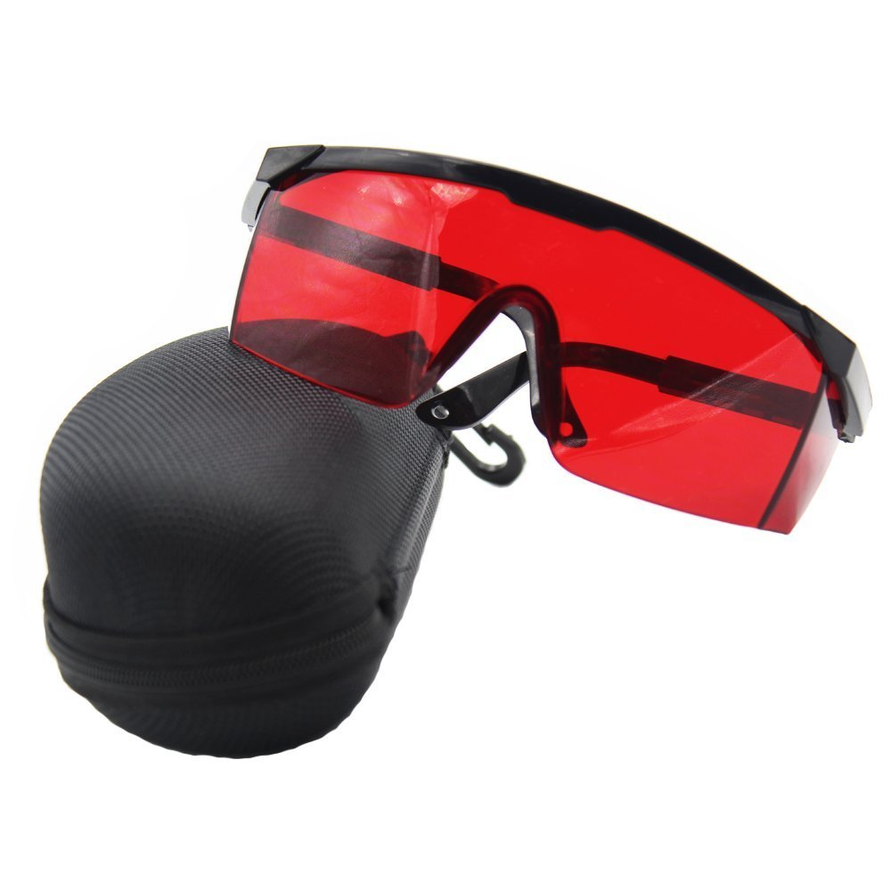 ANZESER Laser Safety Glasses with Adjustable Temple, Red Lens, Black Frame, with Case