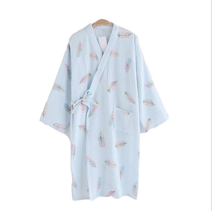 YTFOPLK Sexy Pluma Japonesa Kimono Batas Mujeres Crape Algodón Rosa Manga Larga Simple Camisón Kimono SPA Batas De Baño Verano Delgado, Azul-M: Amazon.es: ...