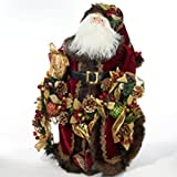Kurt S. Adler 23-Inch Porcelain Santa, Pinecone, Berry and Beads Christmas Garland Tablepiece