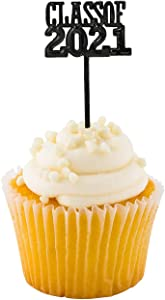 Graduation Cupcake Toppers 2021 (72 Pack) Class of 2021 Food/Appetizer Picks For Graduation Party Mini Cake Decorations, Grad Party Supplies by 4E's Novelty
