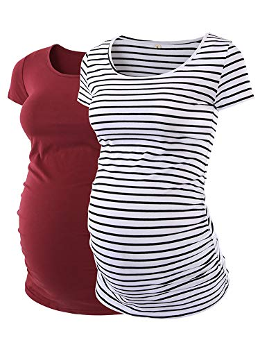 Love2Mi Womens Maternity Tunic Tops Side Ruched T-Shirt Short Sleeve Fitted Pregnancy Clothes