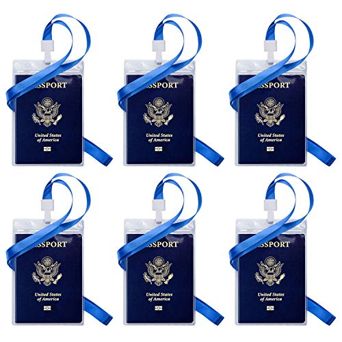 Passport ID Badge Holders, OUSL 6 Pack 4.25x6.38 Inch Vertical PVC Waterproof Name Tag Barcode Card Holder with Lanyards (Id Other Than Passport And Driving License)