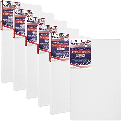 US Art Supply 8 X 16 inch Professional Quality Acid Free Stretched Canvas 6-Pack - 3/4 Profile 12 Ounce Primed Gesso - (1 Full Case of 6 Single Canvases) [並行輸入品]   B07T8PM32L