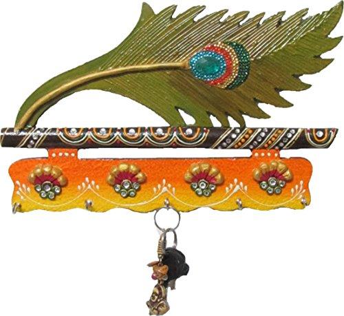 JaipurCrafts Beutiful Mor Pankhi Wooden Key Holder (9 x 6 IN)( Multi) by JaipurCrafts