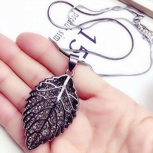 Charm Pendant Choker Leaf Long Necklace Crystal Rhinestone Women Fashion
