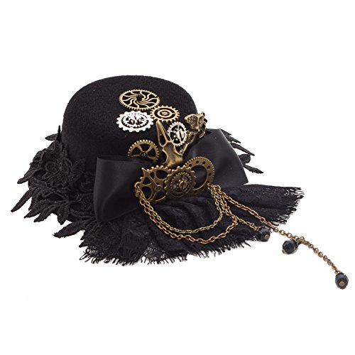 BLESSUME Mini Top Hat Party Hat Dancing Cocktail Feather Veil Hair Clip (Black 4)
