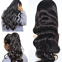 Human Hair Lace Front Wigs Baby Hair Lace Frontal Human Hair Wigs Pre-plucked Natural Black Color 150% Density Brazilian Virgin Hair Body Wave Wigs For Black Women (14inch, Lace Front Wig)
