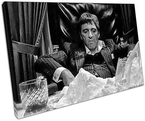 pr/êts /à accrocher EACanvas Toile imprim/ée Noire et Blanche American Gangster Tony Montana Scarface Tableaux pour la Mur A2-24 x 16 inch