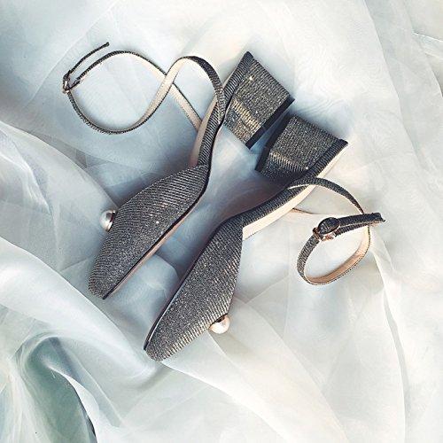 Summer Aire Sandals con ZXMXY Heel de de al Libre Fashion Sandalias tacón Gris Pearl Zapatos Mujer Block Lentejuelas Chunky Sandalias New UwUqtX0