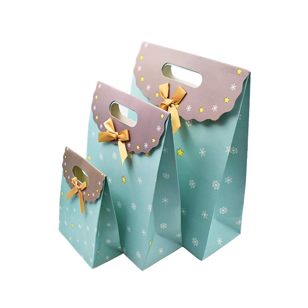 Ogquaton Pochette en Papier Cadeau cr/éatif Durable fourre-Tout ray/é Motif Sac de Papier demballage pour la f/ête de Mariage Sacs Utiliser 3PCS