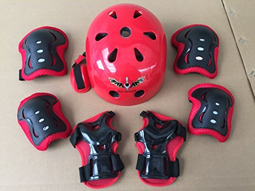 ASIBT Kid's Skateboard Helmet Sets Cycling Roller Skating Helmet Elbow Knee Pads Wrist Sport Safety Protective Guard Gear Set for Children of age 3 8 years old (Red)