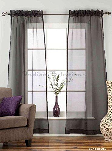 Black - Rod Pocket Sheer Tissue Café Curtain Panel Drape - 43W x 36L - Piece