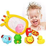 Beiens Water Baby Bath Toys Rubber Duck Bathroom Toys Floating Fish for Kids
