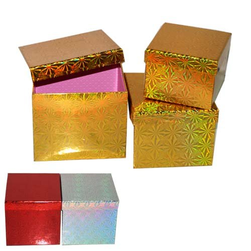 SQ Xmas Gift Box 3pc Set Asst Colors, Case of 24 Asst Gift Box