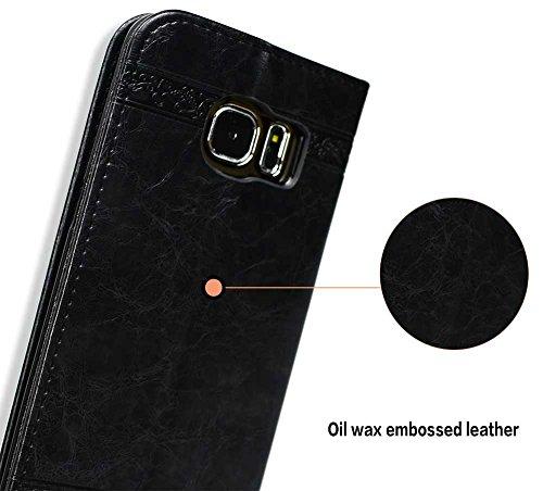 Samsung Galaxy S7 edge Hülle, Samsung Galaxy S7 edge Echte Rindsleder Brieftasche Hülle , COZY HUT® [Premium Leder Serie] [Wallet Case] Praktishe Ledertasche [Schwarz] Integrierter Aufstell Funktion u Schwarz geprägt