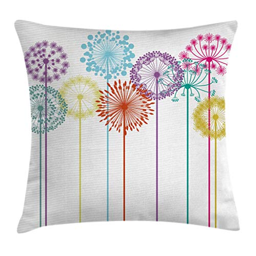 Ambesonne Floral Decor Throw Pillow Cushion Cover, Flower Decorations Colorful Dandelions on White Background Illustration, Decorative Square Accent Pillow Case, 20 X 20 Inches, Multicolored