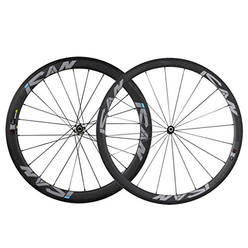 ICAN Carbon Clincher Wheelset 38mm Front 50mm Rear Rim Sapim CX-Ray Spokes Straight Pull Hub Only 1410g/set (38 Mm Carbon)
