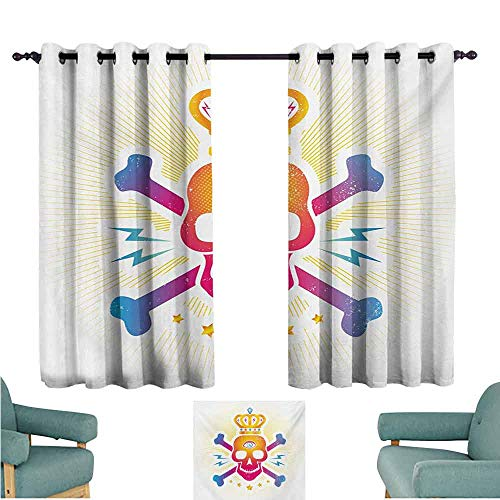 DONEECKL Decorative Curtains for Living Room King Digital Print Skull with Crown and Bones Abstract Stars Ombre Design Light Blocking Drapes with Liner W72 xL45 Yellow Hot Pink and Blue