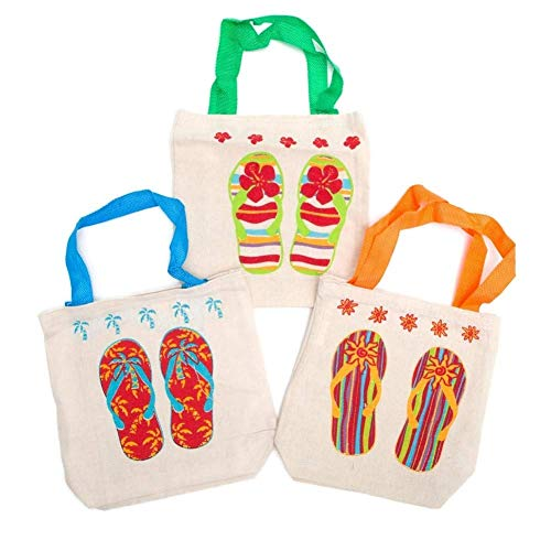 Beach Party Ideas (Fun Express Canvas Flip Flop Tote Bags. Multicolor (12 Pack) 8