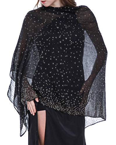 Shawls and Wraps for Evening Dresses Wedding Shawl Wrap Shiny Scarf Black Gold