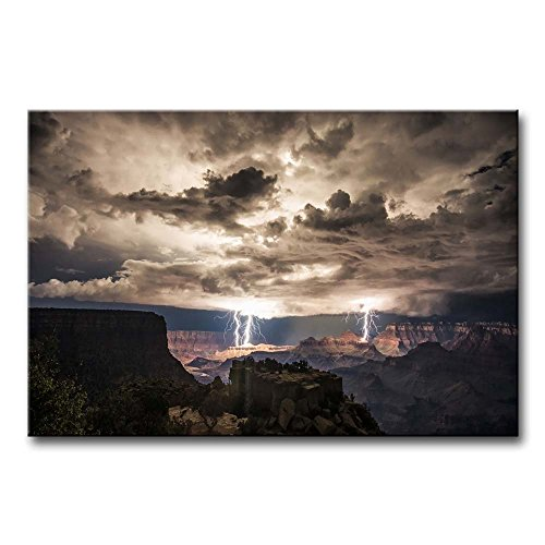 - Canvas print Wall decor Lightning Strikes In The Grand Canyon Dark Cloud Pictures Print On Canvas Modern Painting Stretched And Framed Artwork For Home Decoration