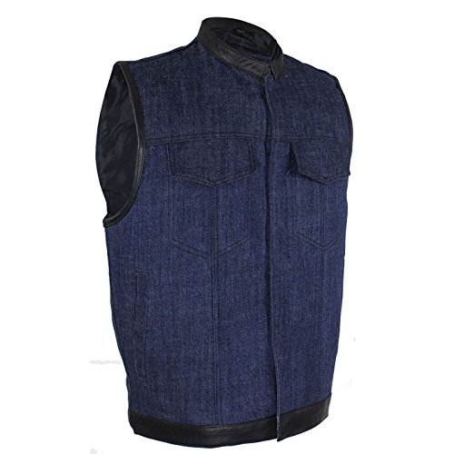 Men's Motorcycle Blue Son of Anarchy Denim Club Vest W/Leather Trim 2 Gun Pocket(Regular L)