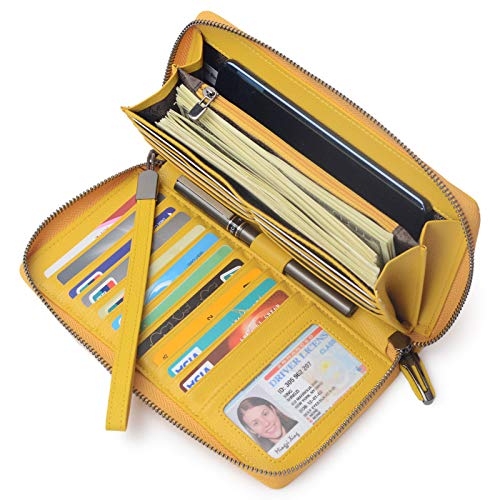 Women RFID Blocking Wallet Leather Zip Around Phone Clutch Large Travel Purse Wristlet (Yellow)