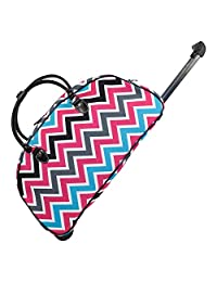 Ever Moda Black Multicolor Chevron Rolling Wheeled Duffle Bag 22-inch