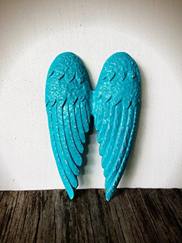 Rustic Angel Wings Inspirational Wall Art – Decorative Baby Boy Nursery Hanging – Shabby Chic Turquoise Aqua Blue -