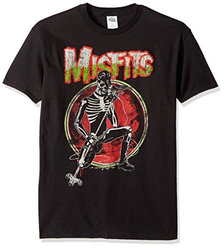 Misfits Band Shirt - FEA Men's Misfits Skeleton Singing Solo T-Shirt, Black, Medium