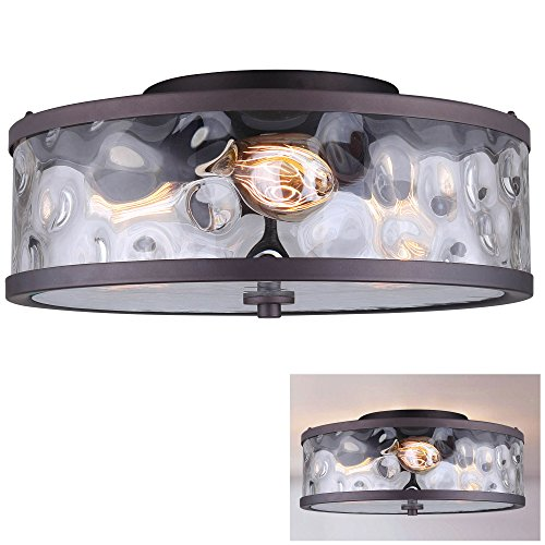 Flush Mount 3 Light Ceiling Fixture Watermark Glass Drum, Oil Rubbed - Flush Bronze Lighting