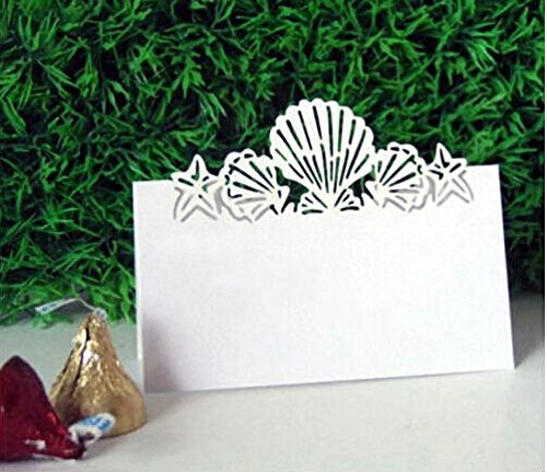 Worldoor 50X Pierced Laser Cut Shell Paper Crafts Wedding Place Card Holder Invitation Card Decorations