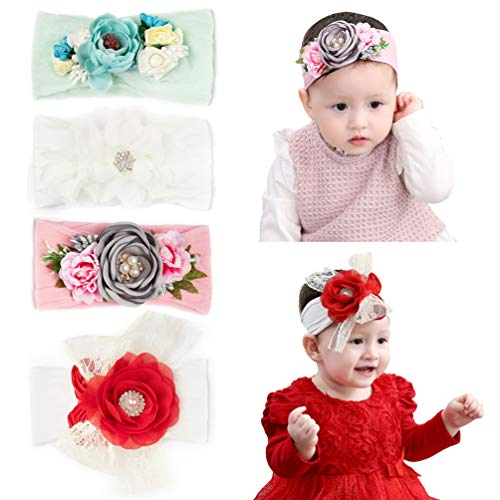 inSowni Boutique Stretch Bow Ear Turban Headbands Set for Baby Girl Toddlers Kids (4PCS S37)