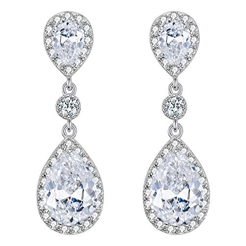 (EleQueen 925 Sterling Silver Full Prong Cubic Zirconia Birthstone Teardrop Bridal Dangle Earrings Clear)